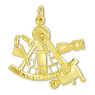 Anhänger Sextant in echt Sterling-Silber 925 oder Gelbgold, Ketten- oder Schlüssel-Anhänger