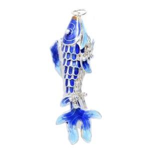 Anhänger Gliederfisch in echt Sterling-Silber 925 emailliert, hochwertiger Ketten- oder Schlüssel-Anhänger