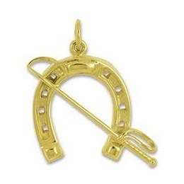 Anhänger Hufeisen mit Reitgerte in echt Sterling-Silber 925 oder Gelbgold, Ketten- oder Schlüssel-Anhänger
