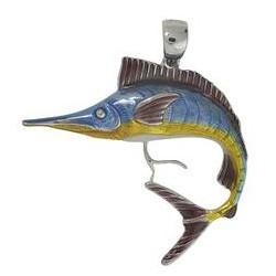 Anhänger Schwertfisch in echt Sterling-Silber 925 emailliert, hochwertiger Ketten- oder Schlüssel-Anhänger