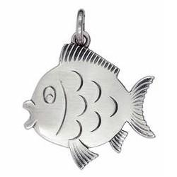 Anhänger Fisch in echt Sterling-Silber oder Gold, Kettenanhänger oder Schlüssel-Anhänger