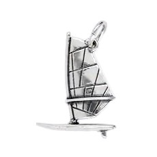 Anhänger Surfboard mit Segel in echt Sterling-Silber 925 oder Gold, Charm, Ketten- oder Bettelarmband-Anhänger