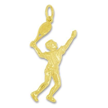Anhänger Tennisspieler in echt Sterling-Silber 925 oder Gold, Ketten- oder Schlüssel-Anhänger