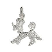 Anhänger Pudel, Hund in echt Sterling-Silber 925 weiß, Charm, Ketten- oder Bettelarmband-Anhänger