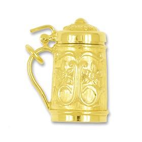 Anhänger Bierkrug, Bierseidel in echt Gold, Charm, Ketten- oder Bettelarmband-Anhänger