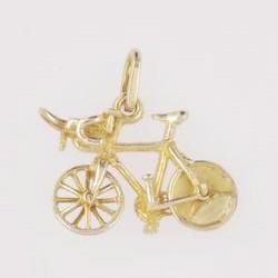 Anhänger Rennrad, Bahnrad mit Scheibenrad in echt Gold, Charm, Ketten- oder Bettelarmband-Anhänger