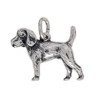 Anhänger Beagle, Hund in echt Sterling-Silber 925 oder Gold, Charm, Ketten- oder Bettelarmband-Anhänger