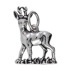 Anhänger Rehbock in Silber oder Gold, Charm E1472, Schlüsselanhänger oder Kettenanhänger