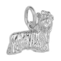 Anhänger Yorkshire Terrier, Hund in echt Sterling-Silber 925 oder Gelbgold, Charm, Ketten- oder Bettelarmband-Anhänger