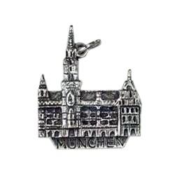 Anhänger München, Neues Rathaus in echt Sterling-Silber 925 oder Gold, Ketten- oder Schlüssel-Anhänger