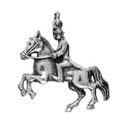 Anhänger Oberbereiter mit Lipizzaner, Spanische Hofreitschule in echt Sterling-Silber 925 und Gold, Ketten- oder Schlüssel-Anhänger