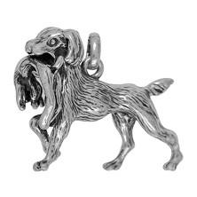 Anhänger Jagdhund mit Hase in echt Sterling-Silber 925 oder Gold, Ketten- oder Schlüssel-Anhänger