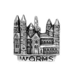 Anhänger Worms, Dom in echt Sterling-Silber 925 oder Gold, Charm, Ketten- oder Bettelarmband-Anhänger