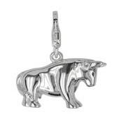 Anhänger Bulle in echt Sterling-Silber 925, Charm mit Karabiner, hochwertiger Ketten- oder Bettelarmband-Ein-/Anhänger