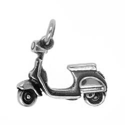 Anhänger Motorroller, Vespa in echt Sterling-Silber 925 oder Gold, Charm, Ketten- oder Bettelarmband-Anhänger