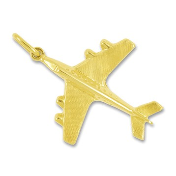 Anhänger Düsenflugzeug in echt Gold, Charm, Ketten- oder Bettelarmband-Anhänger
