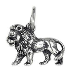 Anhänger Löwe, Tierkreiszeichen, Sternzeichen in echt Sterling-Silber 925 oder Gold, Charm, Ketten- oder Bettelarmband-Anhänger
