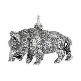 Anhänger Wildschwein, Keiler in echt Sterling-Silber 925 oder Gold, Ketten- oder Schlüssel-Anhänger