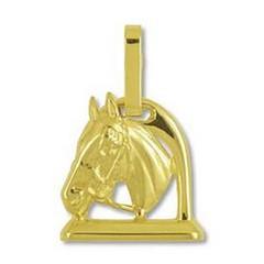 Anhänger Pferdekopf mit Steigbügel in echt Gelbgold, Charm, Ketten- oder Bettelarmband-Anhänger