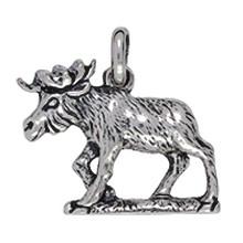 Anhänger Elch in echt Sterling-Silber 925, Charm, Kettenanhänger oder Bettelarmband-Anhänger