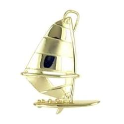Anhänger Windsurfboard in echt Sterling-Silber 925 und Gold, Ketten- oder Schlüssel-Anhänger