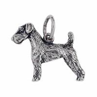 Anhänger Airdale Terrier, Hund in echt Sterling-Silber 925 oder Gold, Charm, Ketten- oder Bettelarmband-Anhänger