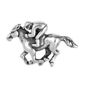 Anhänger Rennpferd mit Jockey in echt Sterling-Silber 925 und Gold, Ketten- oder Schlüssel-Anhänger