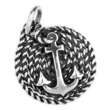 Anhänger Anker auf Seil in echt Sterling-Silber 925 oder Gold, Charm, Ketten- oder Bettelarmband-Anhänger