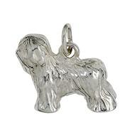 Anhänger Bobtail, Hund in echt Sterling-Silber 925, Charm, Ketten- oder Bettelarmband-Anhänger