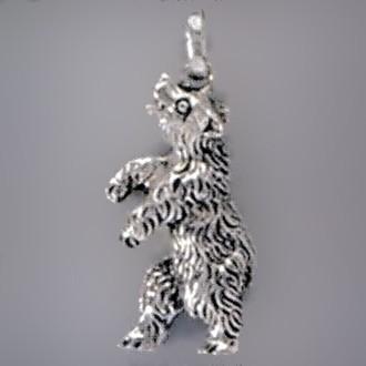 Anhänger Bär stehend in Silber oder Gold, Charm T151, Schlüsselanhänger oder Kettenanhänger