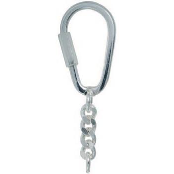 Schlüsselring mit Schraubverschluss & Panzerkette, Schlüsselmechanik in Sterling-Silber 925/000 für Anhänger