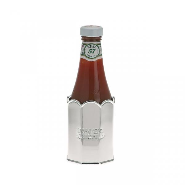 Ketchup-Ständer versilbert, mit Fläschchen
