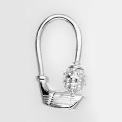 Schlüsselring Golfschläger mit Ball in echt Sterling-Silber 925 für Anhänger