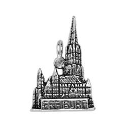Anhänger  Freiburger Münster in echt Sterling-Silber 925, Charm, Ketten- oder Bettelarmband-Anhänger