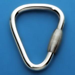 Schlüsselring Triangel mit Schraubverschluss, Schlüsselmechanik in Sterling-Silber 925, Gelbgold 333, 585 oder 750 für Anhänger