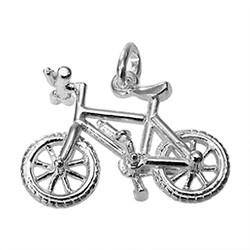 Anhänger Mountainbike in echt Sterling-Silber 925 weiß, Charm, Ketten- oder Bettelarmband-Anhänger