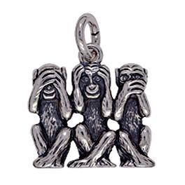 Anhänger Affen, indische Weisheit in Silber oder Gold, Charm T170, Ketten-, Schlüssel- oder Bettelarmband-Anhänger