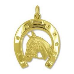 Anhänger Pferdekopf mit Hufeisen in echt Gelbgold poliert, Ketten- oder Schlüssel-Anhänger