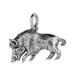 Anhänger Wildschweine, Charms in Silber & Gold