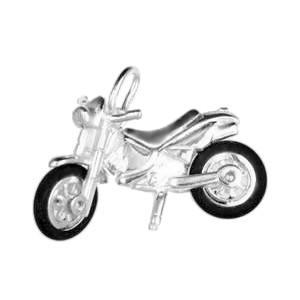 Anhänger Suzuki Enduro Motocross-Motorrad in echt Sterling-Silber oder Gelbgold, Charm, Ketten- oder Bettelarmband-Anhänger