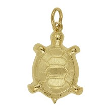 Anhänger Schildkröte in echt Gelbgold satiniert, Charm, Ketten- oder Bettelarmband-Anhänger