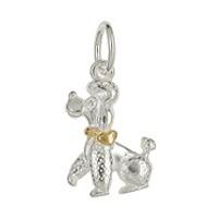 Anhänger Pudel, Hund mit Halsband & Herz in echt Sterling-Silber 925 oxidiert, weiß, weiß teilvergoldet / bicolor oder Gold, Charm, Ketten- oder Bettelarmband-Anhänger