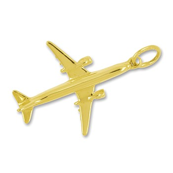 Anhänger Flugzeug Boeing 737 in echt Gold, Charm, Ketten- oder Bettelarmband-Anhänger