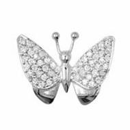 Anhänger Schmetterling, Falter in echt Sterling-Silber 925 mit Zirkonia, Charm, Ketten- oder Bettelarmband-Anhänger