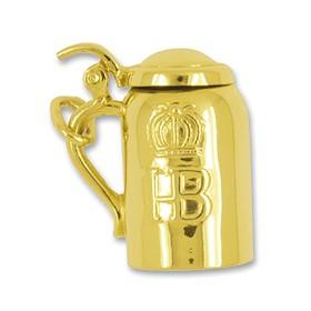 Anhänger HB Bierkrug, Maßkrug, Hofbräuhaus München in echt Gold, Charm, Ketten- oder Bettelarmband-Anhänger