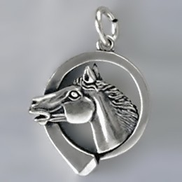 Anhänger Pferdekopf mit Hufnagel in echt Sterling-Silber 925 oder Gold, Ketten- oder Schlüssel-Anhänger