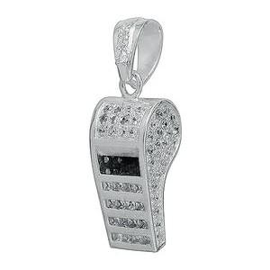 Anhänger Trillerpfeife in echt Sterling-Silber 925 mit Kristallen, hochwertiger Ketten- oder Schlüssel-Anhänger