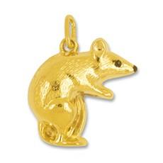 Anhänger Maus in echt Gelbgold, Charm, Ketten- oder Bettelarmband-Anhänger