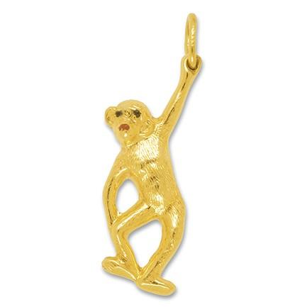 Anhänger Affe in Gold, Charm N1018, Schlüssel-, Bettelarmband- oder Ketten-Anhänger