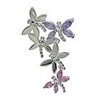 Anhänger Schmetterling, Falter in echt Sterling-Silber 925 mit farbigen Steinen, Charm, Ketten- oder Bettelarmband-Anhänger